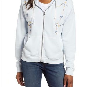 Lucky Brand Embroidered Zip Hoodie size S